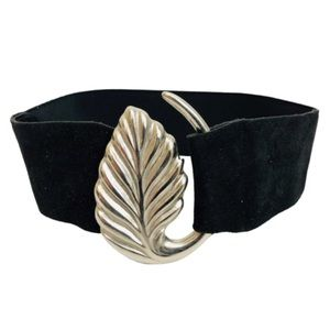 Vintage Suede Belt Leaf Metal Buckle Stretch Sz S
